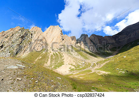 Stock Photo of Mountain range panorama with Rote Saule in the Hohe.