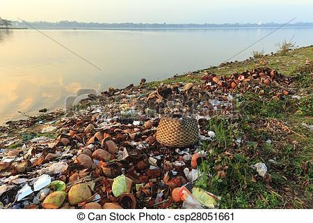 Stock Image of Pollution on lake shore.