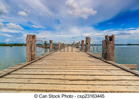 Stock Photo of U bein bridge, Taungthaman lake, Amarapura, Burma.