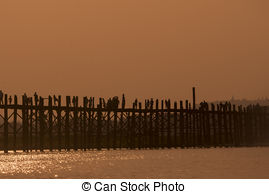 Picture of Landmark landscape U bein bridge, Taungthaman lake.