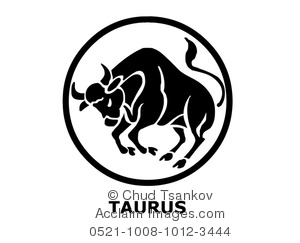 Clipart Image of Black and White Taurus the Bull Ready To Charge.