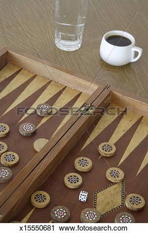 Stock Photography of Tavli board and Greek coffee x15550681.