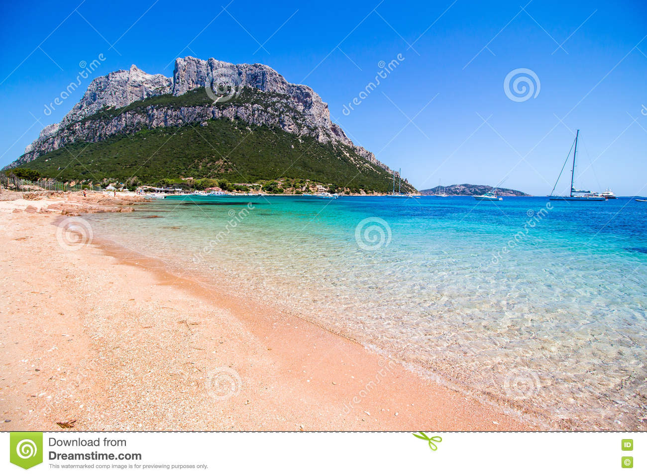 Spalmatore Beach In Tavolara Island, Sardinia, Italy Stock Photo.
