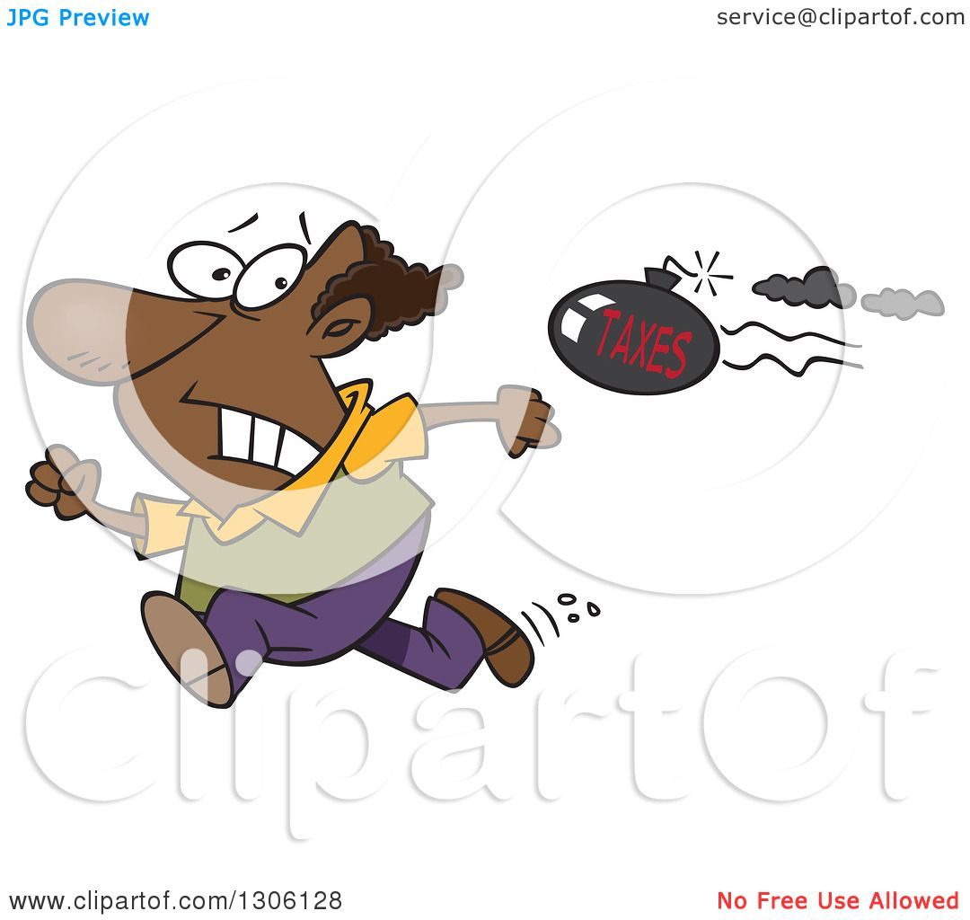 Clipart of a Cartoon Tax Evasion Bomb Flying Behind a Running.