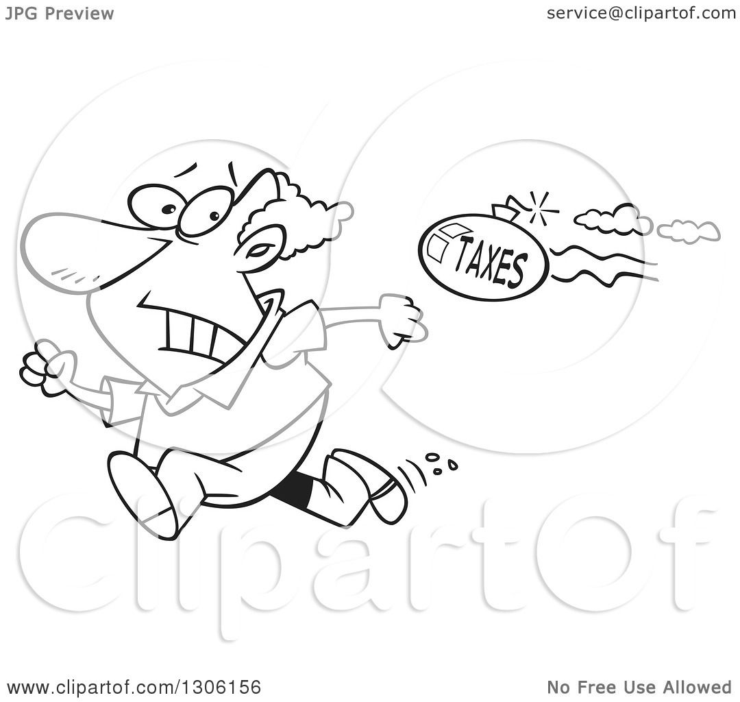 Lineart Clipart of a Cartoon Black and White Tax Evasion Bomb.