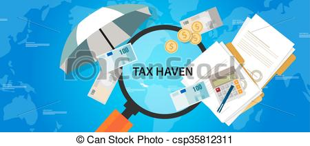 Vector Clip Art of tax haven country finance business illustration.