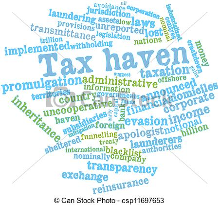 Stock Illustrations of Word cloud for Tax haven.