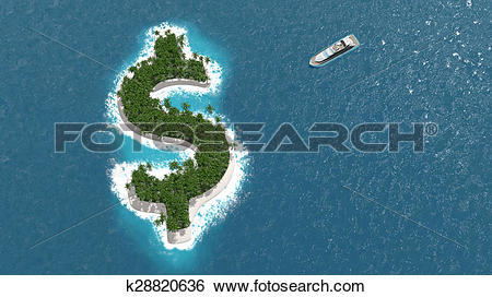 Stock Illustration of Tax haven, financial or wealth evasion on a.