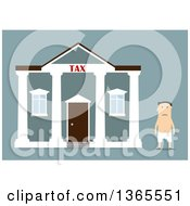 Clipart of a Tax Man Robber Running on Blue.