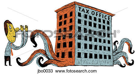 Drawing of man at the tax office jbo0033.
