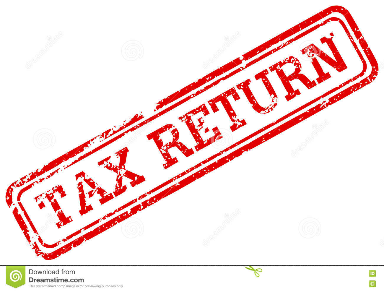 Tax Return Red Rubber Stamp Stock Illustration.