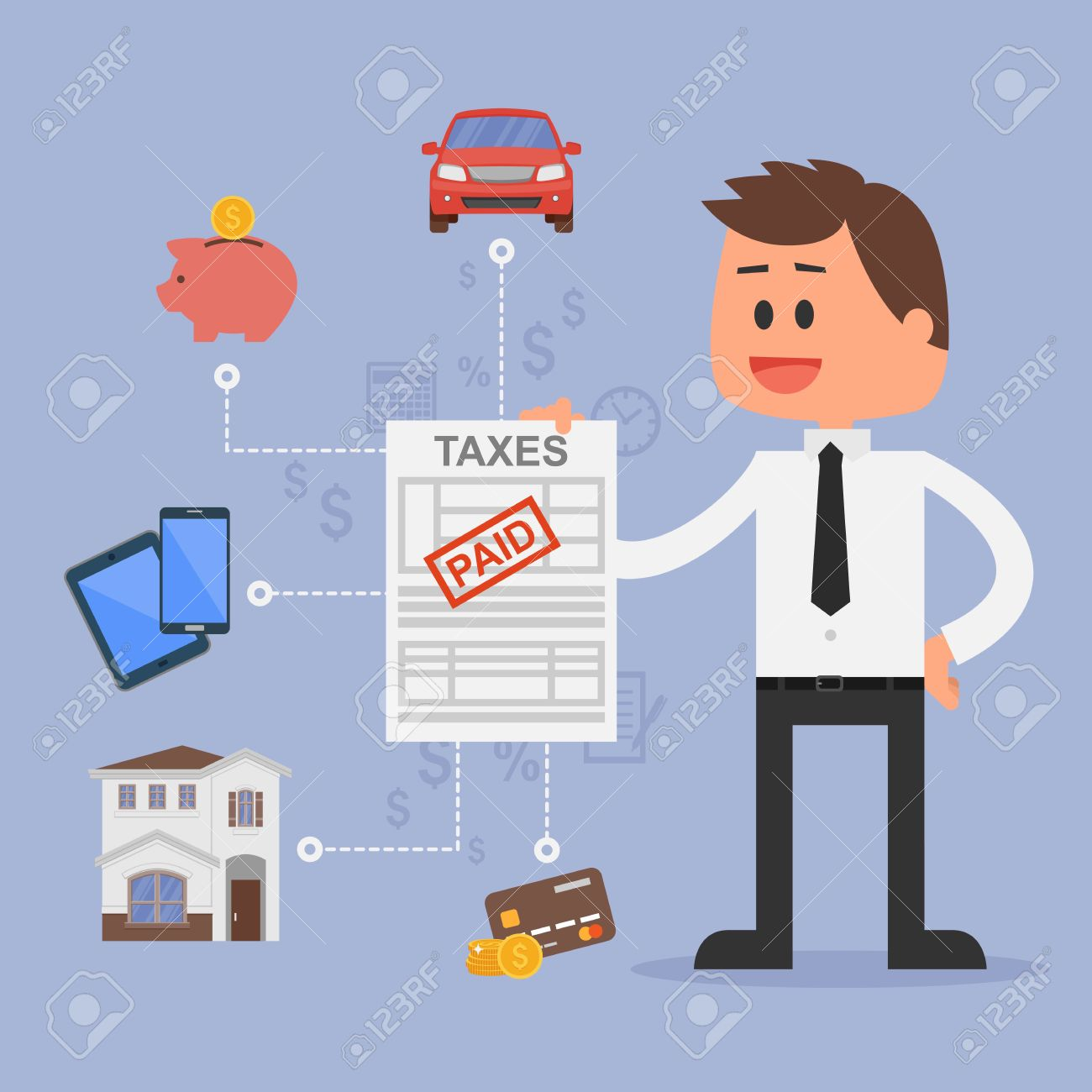 Cartoon Vector Illustration For Financial Management And Taxes.