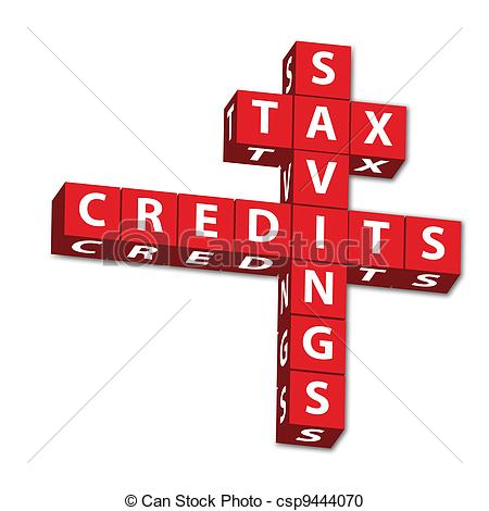 Stock Photography of Tax Savings and credits.
