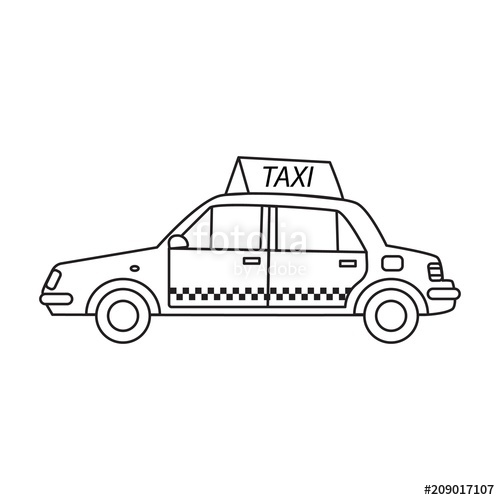A taxi cab with a sign on the roof in the line art style.