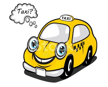 Cute Yellow Cartoon Taxi With A Thought Bubble premium.