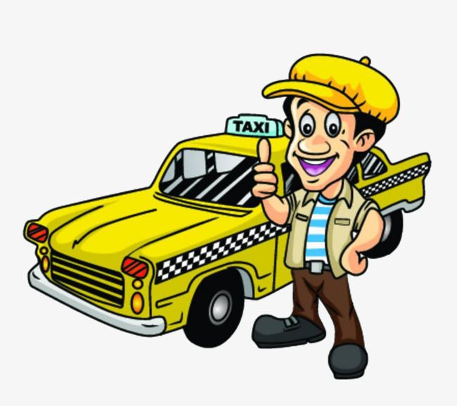 Cartoon Yellow Taxi, Cartoon Clipart, Taxi Clipart, Taxi PNG.