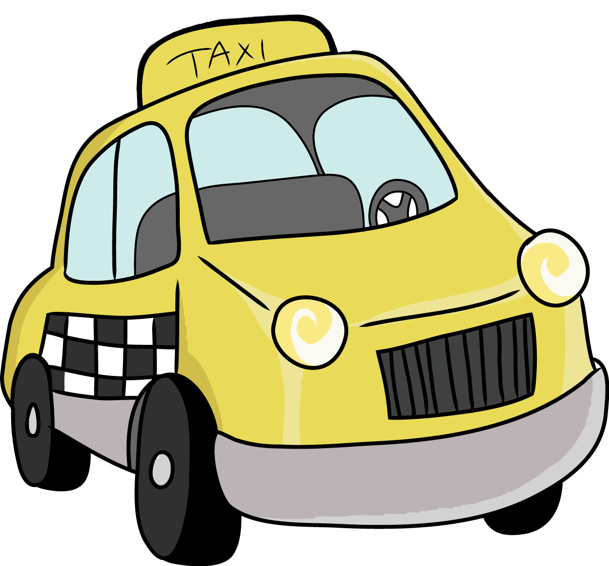 Cartoon Taxi Van Clipart free image.