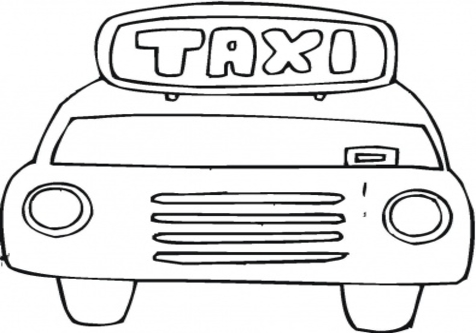 Download taxi cartoon black and white clipart Taxi Coloring.