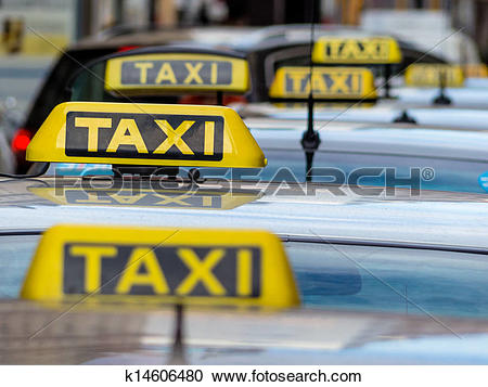 Stock Photography of taxis at a taxi rank k14606480.