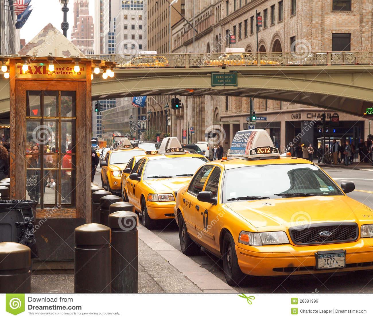 Taxi Rank, New York City Editorial Stock Image.