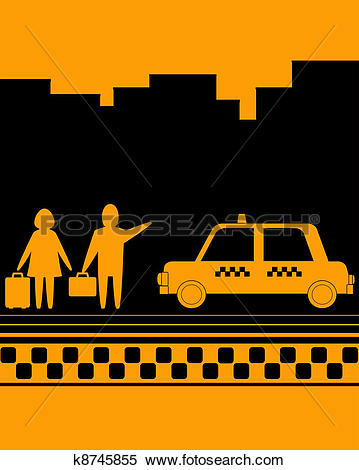 Stock Illustration of man and woman on taxi stop k8745855.