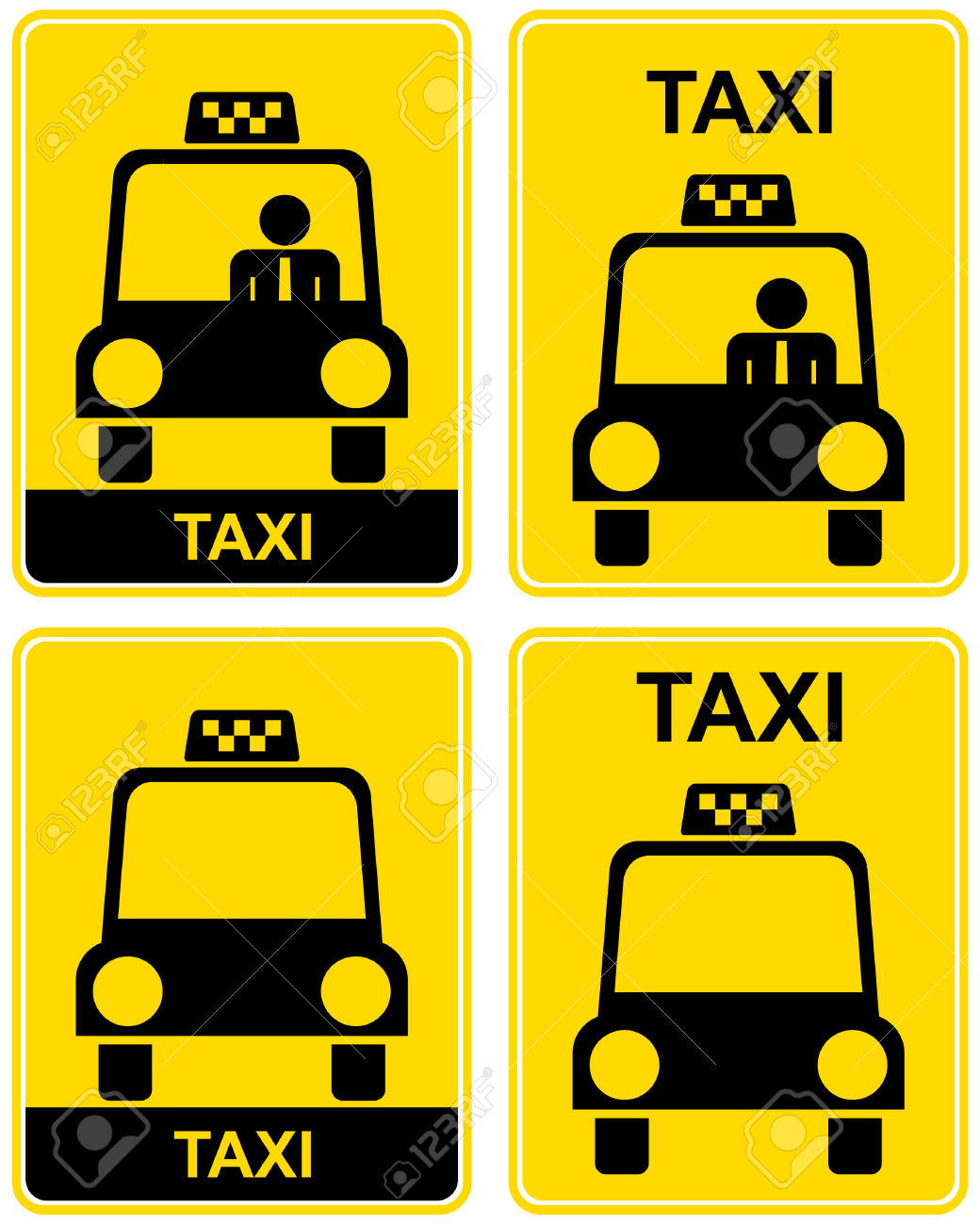 Vector Illustration Of A Yellow Road Sign.