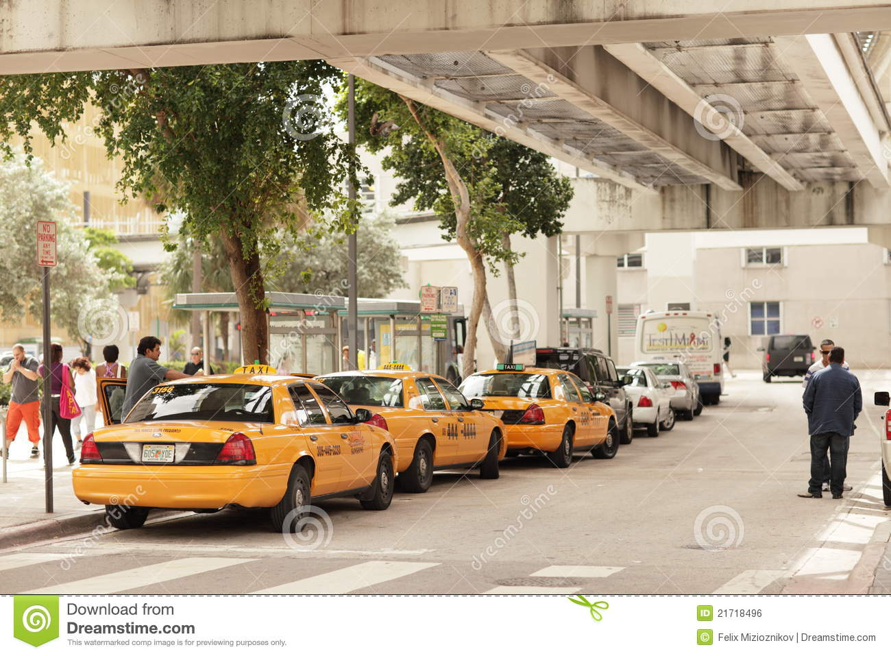 Downtown Miami Taxi Stand Editorial Photo.