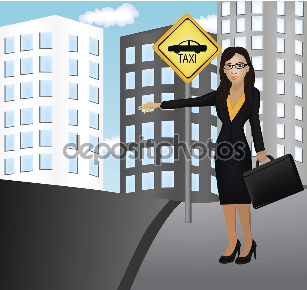 Vector image of a female waiting for taxi. — Stock Vector © kozzi2.