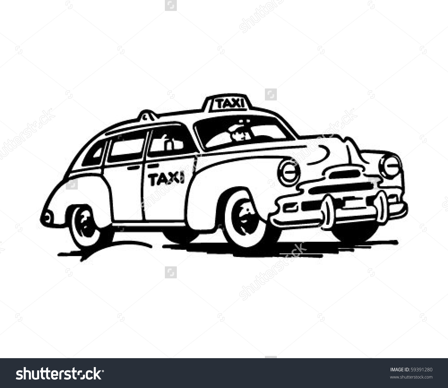 Taxicab Retro Clip Art Stock Vector 59391280.