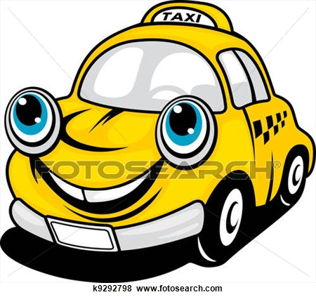 Cartoon taxi car.