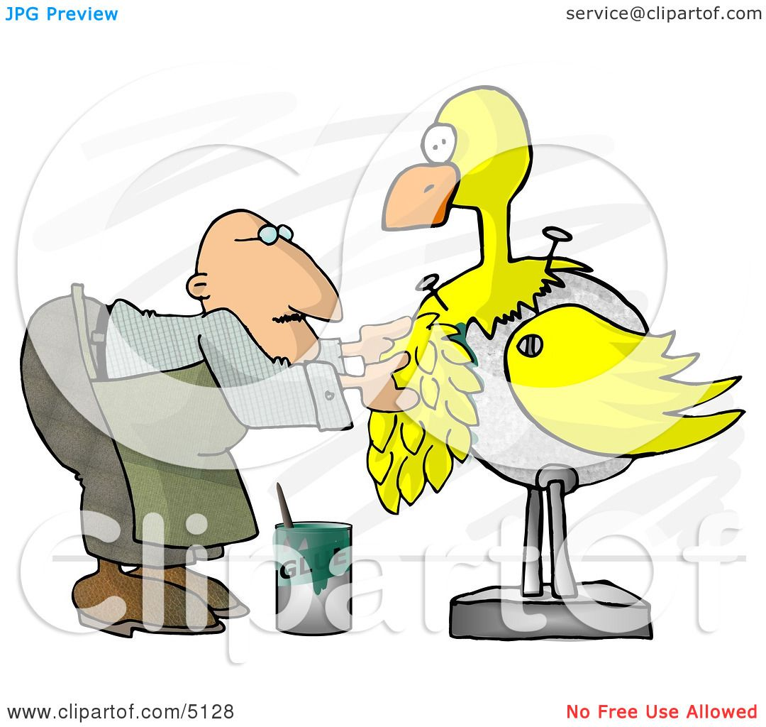 Male Taxidermist Working On a Big Yellow Bird Clipart by Dennis.
