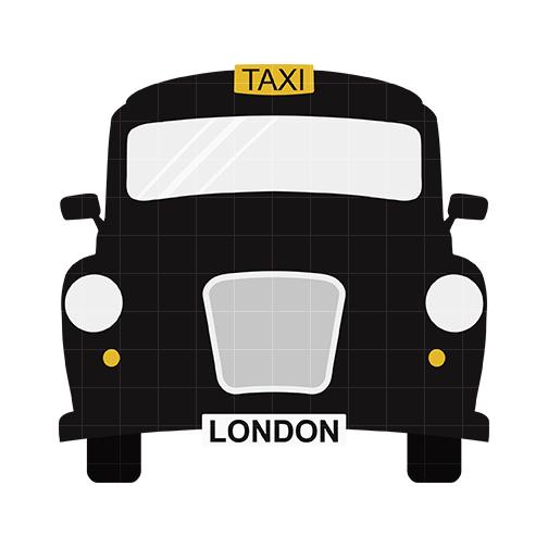 Black taxi clipart.