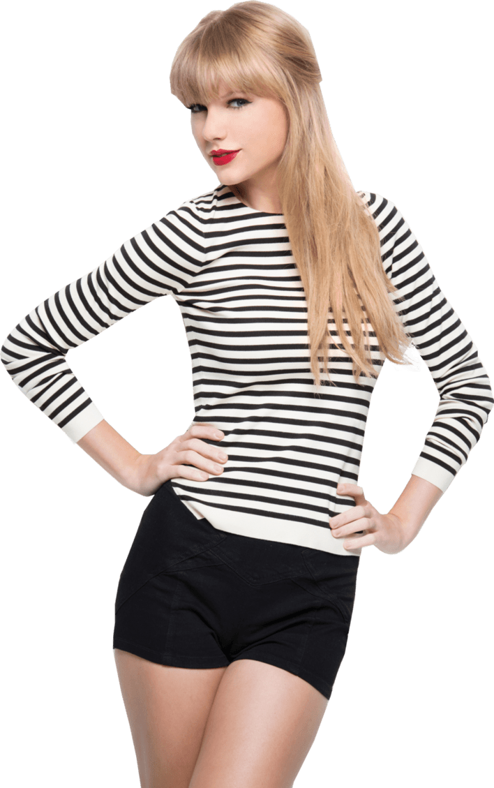 Striped Taylor Swift transparent PNG.