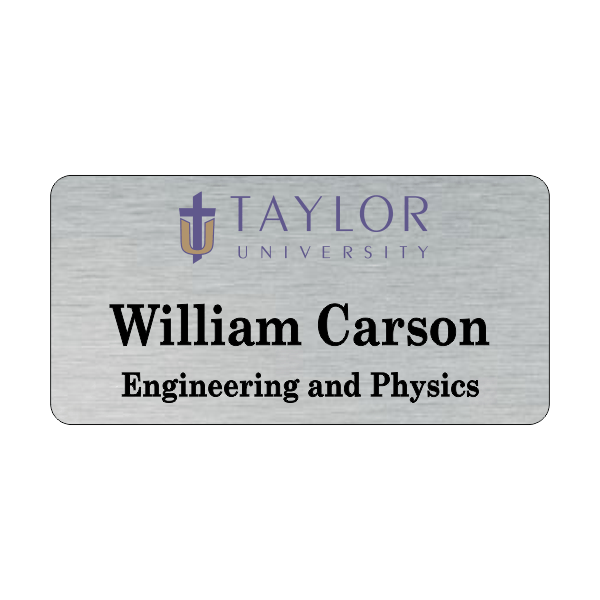 Taylor University Silver Name Tag 2 Line.