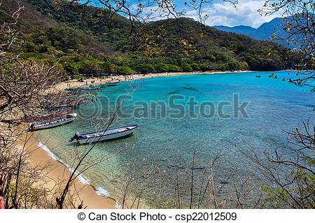 Stock Photography of Crystal Beach at Tayrona National Park.