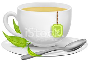 Cup of Green Tea With Tea Leaves and A Stock Vector.