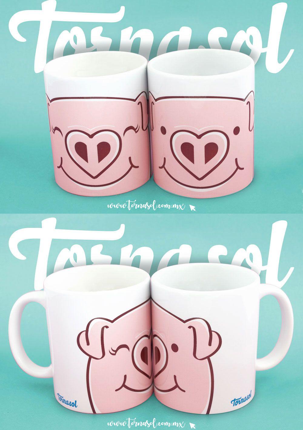 Este par de tazas de cerámica es ideal para las parejas más.