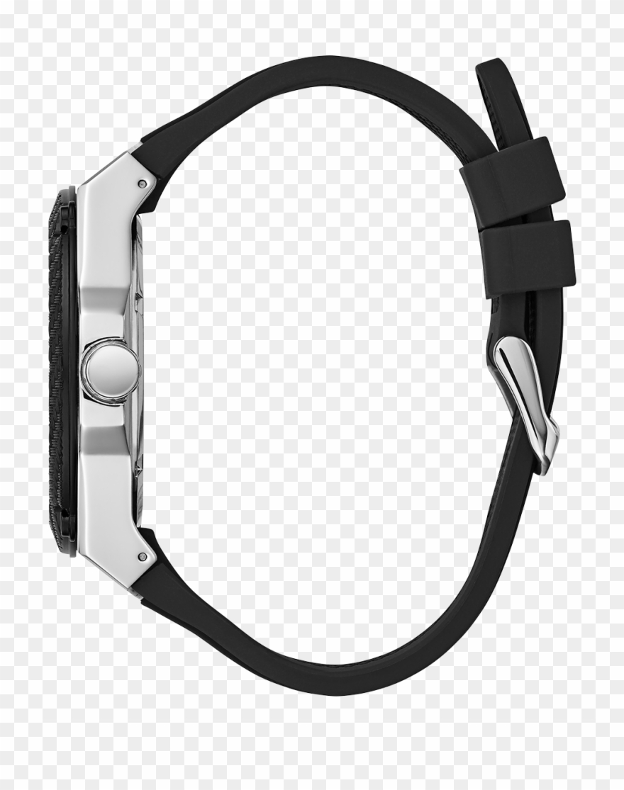 Gents Silver Tone/black Case Black Silicone Watch Large.