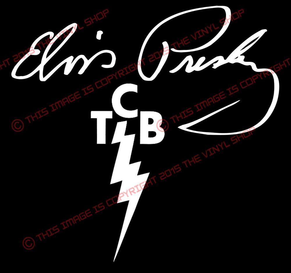 2 pcs Elvis Presley Signature & TCB LOGO Vinyl Decal Sticker.