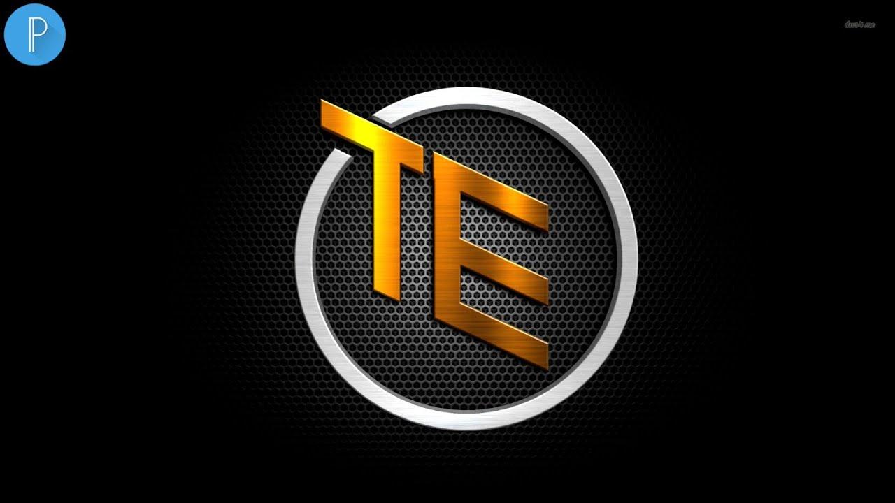 T E logo design on Android Pixellab.
