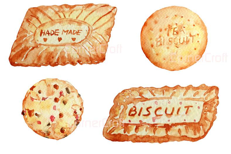 Digital watercolour biscuits and tea pot set instant.