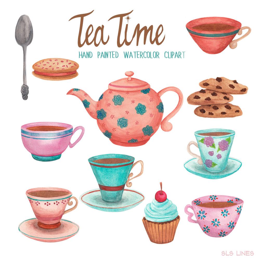 Tea Time Teacups & Cookies, Watercolors.
