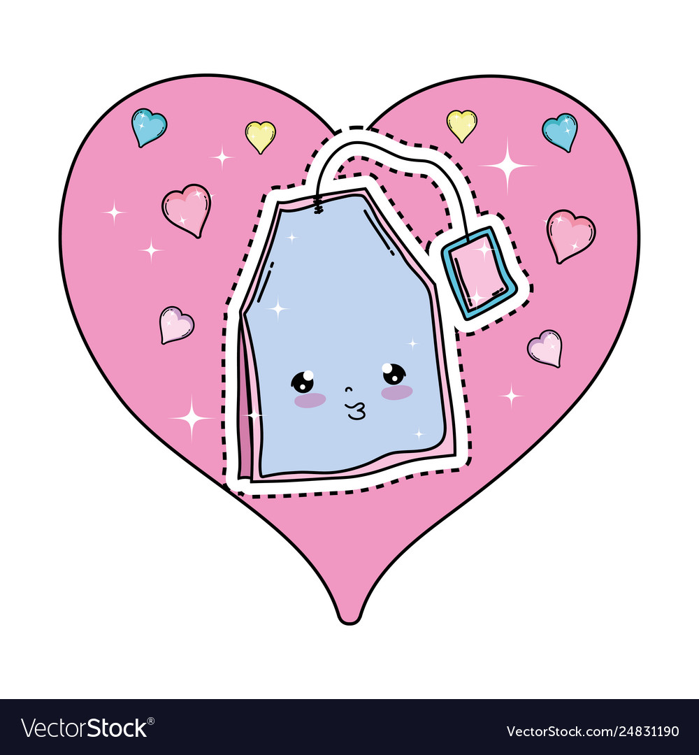 Cute tea bag with heart kawaii character.