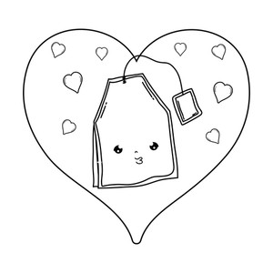 cute tea bag with heart kawaii character vector illustration.