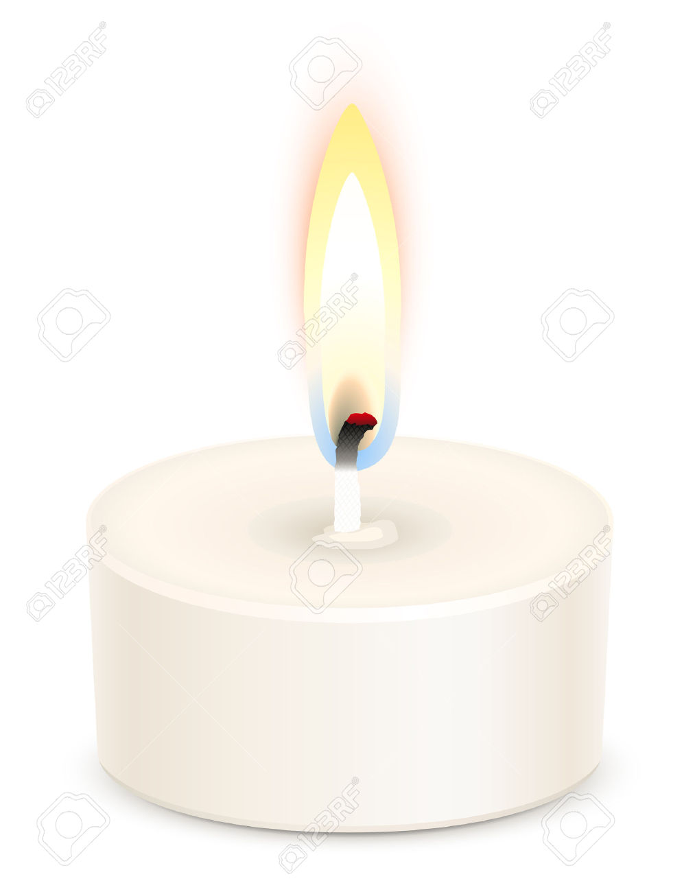 White Tealight Candle Isolated On White Royalty Free Cliparts.