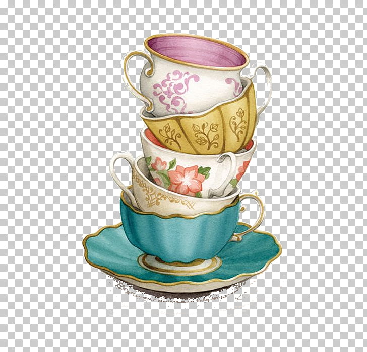 Teacup Saucer , Tea Cup, several assorted teacups PNG.