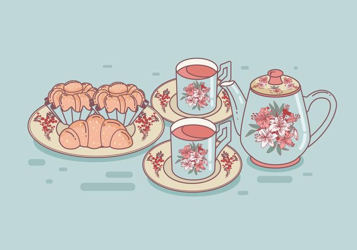 Set of Tea Cups and Brioche Vector.