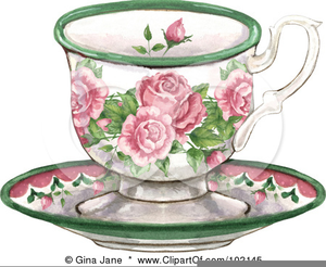 Free Clipart Royalty Tea Cups Border.