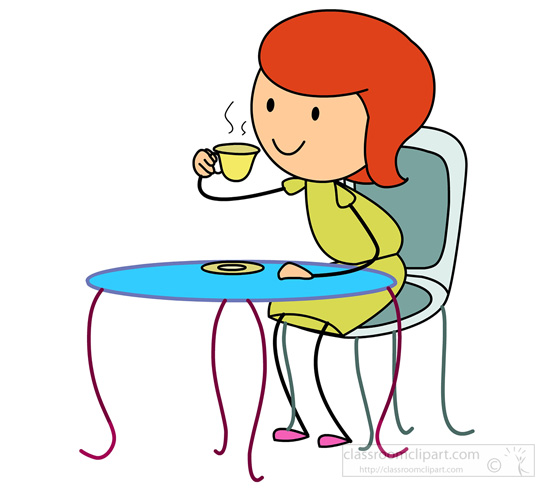 Sipping Tea Clipart.