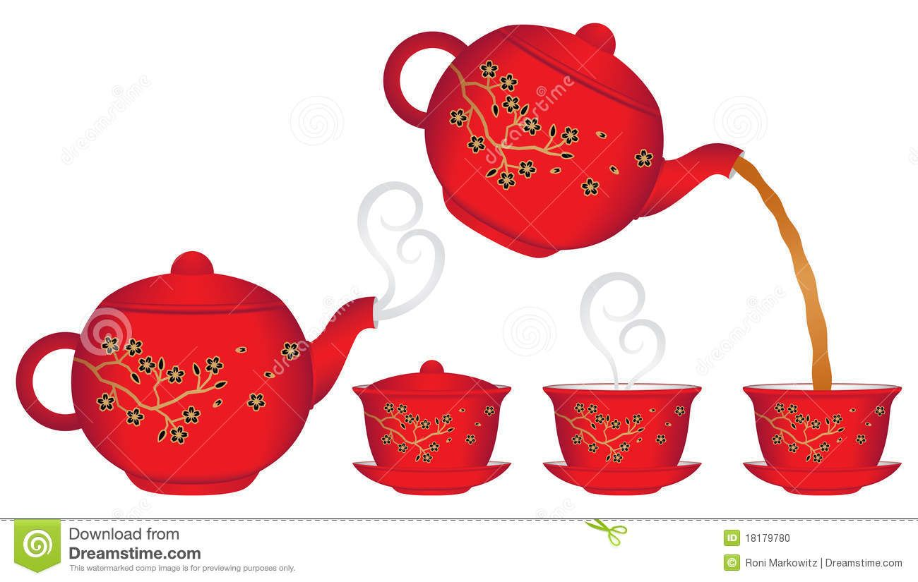 Teapots And Teacups Drawings Clipart.